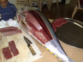 Image of a yellow fin tuna sliced tomake sushi