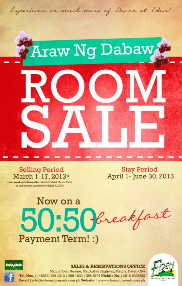 eden nature park room sale ad